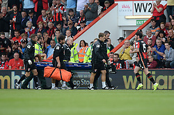 Tyrone Mings of Bournemouth is taken of injured and replaced by Adam Smith of Bournemouth - Mandatory byline: Alex James/JMP - 07966386802 - 29/08/2015 - FOOTBALL - Dean Court -Bournemouth,England - AFC Bournemouth v Leicester City - Barclays Premier League