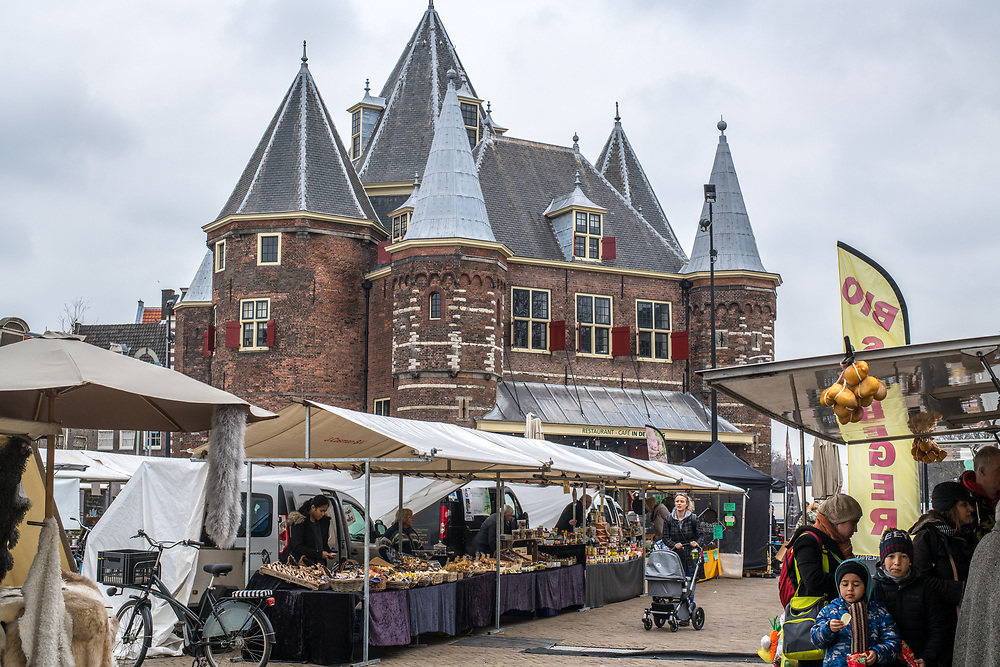 Wide shot of a market  in Amsterdam Amsterdam, Netherlands