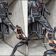 Cosplayers in their costumes as Blade vs X23 at the New York Comic Con.<br /> <br /> X-23 is unarmed(But can use her claws) and Blade is armed with an adamantium sword . Battle takes place in the weapon X facility and they start off from 45 feet apart in a random encounter . <br /> More than 200,000 people attended the event dressed up as their favorite superhero to celebrate comic books, sci-fi and video games.<br /> <br /> The New York Comic Con convention, is a  celebration of comic books, graphic novels, sci-fi and video games, toys, movies and television.