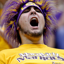 December 10, 2011; Baton Rouge, LA; A LSU Tigers fan cheers from the stands during the second half of a game Boise State Broncos at the Pete Maravich Assembly Center. LSU defeated Bosie State 64-45. Mandatory Credit: Derick E. Hingle-US PRESSWIRE
