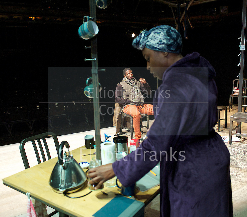 Nut<br /> by Debbie Tucker Green <br /> at The Shed, National Theatre, London, Great Britain <br /> press photocell<br /> 4th November 2013 <br /> <br /> <br /> Nadine Marshall as Elayne<br /> <br /> Sophie Stanton as Aimee<br /> <br /> Anthony Welsh as Devon<br /> <br /> <br /> <br /> <br /> <br /> Sharlene Whyte as ex Wife<br /> <br /> Gershwyn Eustache Jnr as ex Husband<br /> <br /> <br /> <br /> <br /> Photograph by Elliott Franks