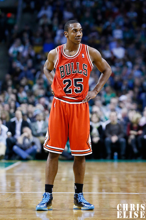 13 February 2013: Chicago Bulls point guard Marquis Teague (25) rests during the Boston Celtics 71-69 victory over the Chicago Bulls at the TD Garden, Boston, Massachusetts, USA.