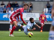 Magnus Westergaard (Lyngby Boldklub) og Daniel Norouzi (FC Helsingør) under træningskampen mellem Lyngby Boldklub og FC Helsingør den 3. juli 2019 på Lyngby Stadion (Foto: Claus Birch)