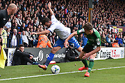 Bury Midfielder, Zeli Ismail (7) and Scunthorpe United Defender, Harry Toffolo (15) during the EFL Sky Bet League 1 match between Bury and Scunthorpe United at the JD Stadium, Bury, England on 1 October 2016. Photo by Mark Pollitt.