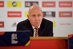 CARDIFF, WALES - Thursday, November 15, 2018: Wales' head of public affairs Ian Gwyn Hughes during a press conference at the Cardiff City Stadium ahead of the UEFA Nations League Group Stage League B Group 4 match between Wales and Denmark. (Pic by David Rawcliffe/Propaganda)