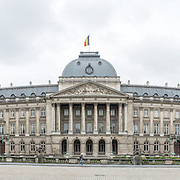 A panoramic shot of the Royal Palace of Brussels, the official palace of the Belgian royal family.
