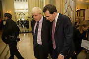 BORIS JOHNSON; GEORGE OSBORNE, Spectator Parliamentarian Of The Year Awards<br /> Claridge's Hotel, Brook Street. London. 13 November 2008 *** Local Caption *** -DO NOT ARCHIVE-© Copyright Photograph by Dafydd Jones. 248 Clapham Rd. London SW9 0PZ. Tel 0207 820 0771. www.dafjones.com.