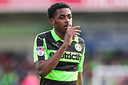 Forest Green Rovers Reece Brown(10) during the EFL Sky Bet League 2 match between Cheltenham Town and Forest Green Rovers at LCI Rail Stadium, Cheltenham, England on 14 April 2018. Picture by Shane Healey.