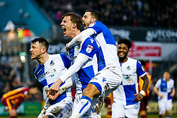Joe Partington of Bristol Rovers Celebrates with Ollie Clarke and Liam Sercombe after scoring a goal to make it 1-1 - Rogan/JMP - 20/01/2018 - FOOTBALL - Memorial Stadium - Bristol, England - Bristol Rovers v Bradford City - EFL Sky Bet League One.