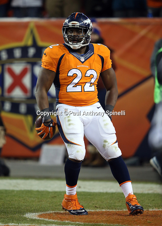 Denver Broncos running back C.J. Anderson (22) celebrates in the end zone after running for a 39 yard touchdown good for a 17-14 Broncos lead during the 2015 NFL week 16 regular season football game against the Cincinnati Bengals on Monday, Dec. 28, 2015 in Denver. The Broncos won the game in overtime 20-17. (©Paul Anthony Spinelli)