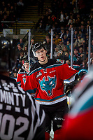 KELOWNA, CANADA - DECEMBER 2: Braydyn Chizen #22 of the Kelowna Rockets skates alongside the bench to celebrate a goal against the Kootenay Ice on December 2, 2017 at Prospera Place in Kelowna, British Columbia, Canada.  (Photo by Marissa Baecker/Shoot the Breeze)  *** Local Caption ***