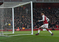 Football - 2017 / 2018 Premier League - Arsenal vs. Everton<br /> <br /> Pierre-Emerick Aubameyang (Arsenal FC) turns and runs off in celebration after scoring on his debut at The Emirates.<br /> <br /> COLORSPORT/DANIEL BEARHAM