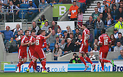 Cardiff City striker Joe Mason celebrates after opening the scoring during the Sky Bet Championship match between Brighton and Hove Albion and Cardiff City at the American Express Community Stadium, Brighton and Hove, England on 3 October 2015. Photo by Bennett Dean.
