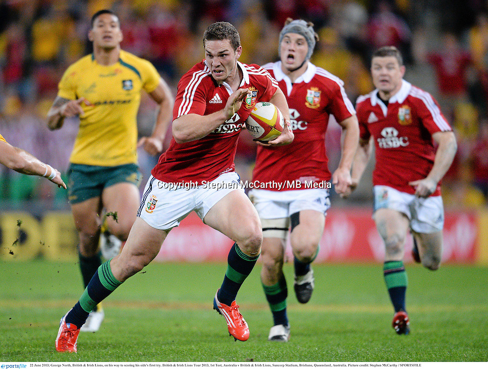 22 June 2013; George North, British & Irish Lions, on his way to scoring his side's first try. British & Irish Lions Tour 2013, 1st Test, Australia v British & Irish Lions, Suncorp Stadium, Brisbane, Queensland, Australia. Picture credit: Stephen McCarthy / SPORTSFILE