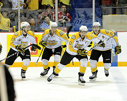 Brayden Schenn (10) and the brandon Wheat Kings celebrate a goal in the semi-final game of the 2010 MasterCard Memorial Cup in Brandon, MB on Friday May 21. Photo by Aaron Bell/CHL Images