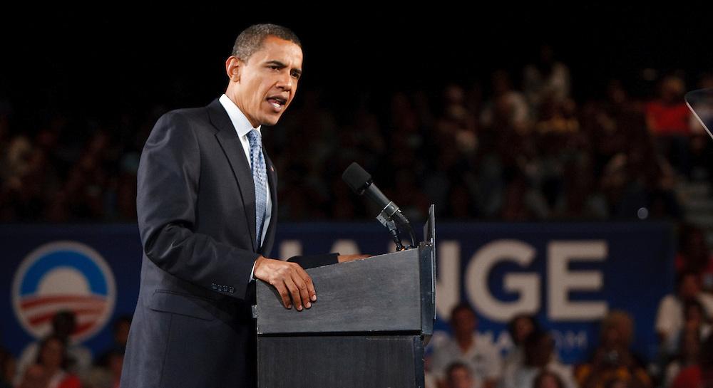 Barack Obama in Toledo, Ohio on October 13, 2008