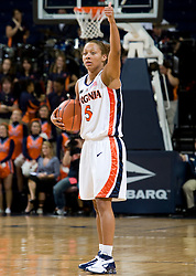 Virginia guard Sharnee Zoll (5) calls a play on offense against Rhode Island.  The Virginia Cavaliers women's basketball team defeated the Rhode Island Rams 89-53 at the John Paul Jones Arena in Charlottesville, VA on January 9, 2008.