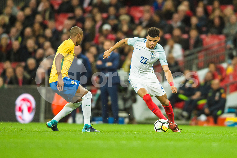 Dominic Solanke of England in action during the international friendly match between England and Brazil at Wembley Stadium, London, England on 14 November 2017. Photo by Darren Musgrove.