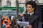 Bianca Jagger - #March4Women 2018, a march and rally in London to celebrate International Women's Day and 100 years since the first women in the UK gained the right to vote.  Organised by Care International the march stated at Old Palace Yard and ended in a rally in Trafalgar Square.