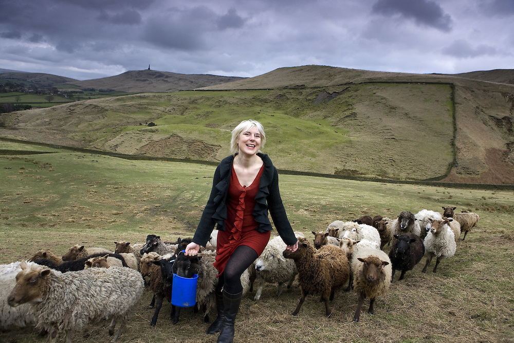 Beate on the hills with her sheep above Hebden Bridge - The Times