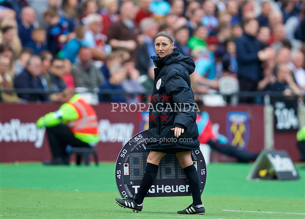 LONDON, ENGLAND - Saturday, April 22, 2017: Sian Massey-Ellis takes the role of fourth official after starting the game as an assistant referee running the line during the FA Premier League match between West Ham United and Everton at the London Stadium. (Pic by David Rawcliffe/Propaganda)