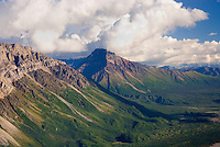 Aerial view of Eastern peaks of the Wrangell Mountains, Wrangell-St. Elias National Park Alaska