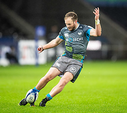 Marty McKenzie of Ospreys converts<br /> <br /> Photographer Simon King/Replay Images<br /> <br /> European Rugby Champions Cup Round 3 - Ospreys v Racing 92 - Saturday 7th December 2019 - Liberty Stadium - Swansea<br /> <br /> World Copyright © Replay Images . All rights reserved. info@replayimages.co.uk - http://replayimages.co.uk