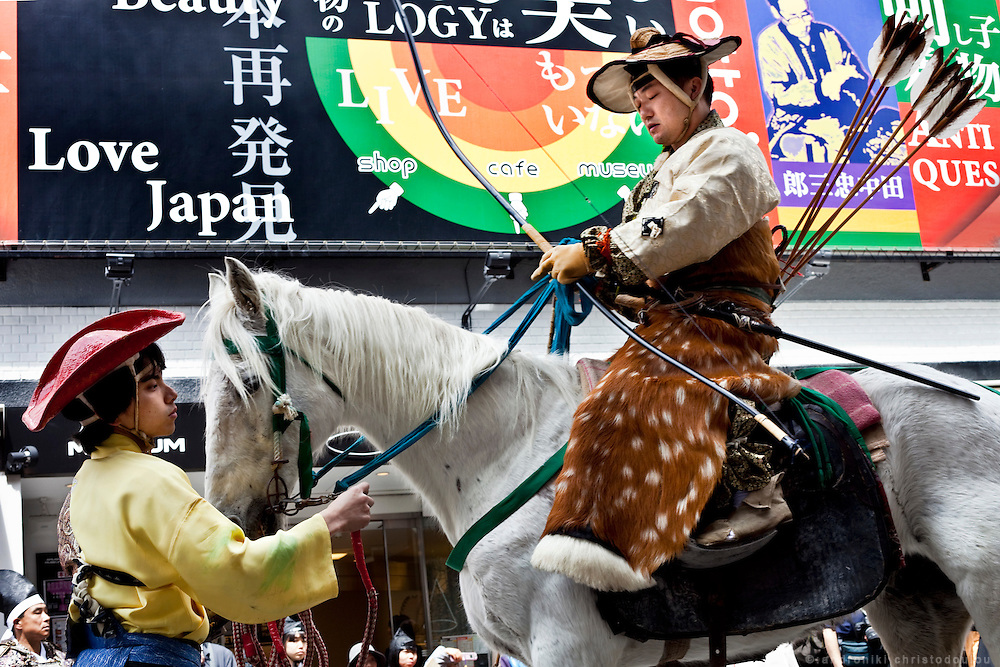 Archer on a horse on his way to the Yabusame track in Asakusa