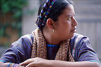 Mayan woman wears traditional dress (huipil), Western Highlands, Guatemala