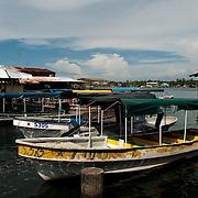 Water taxis in Colon Island in Bocas del Toro, Panama