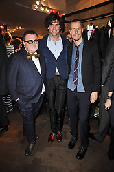 Left to right, ALBER ELBAZ, singer MIKA and LUCAS OSSENDRIJVER at the launch party of 'Songs For Sorrow' hosted by Alber Elbaz and Mika held at Lanvin, 32 Savile Row, London on 11th November 2009.