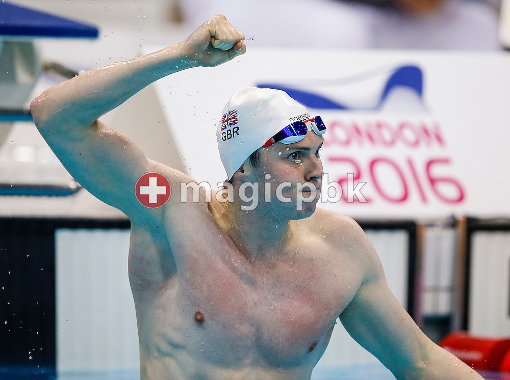 Ross MURDOCH of Great Britain jubilates after winning in the men's 200m Breaststroke Final during the LEN European Swimming Championships held at the London Aquatics Centre in London, Great Britain, Thursday, May 19, 2016. (Photo by Patrick B. Kraemer / MAGICPBK)
