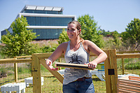 Leigh-Kathryn Bonner unveils the new campus apiary near the Hunt Library.