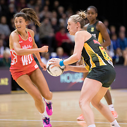 South Africa's Erin Burger, right, collects a pass as England's Beth Cobden looks on in the Netball Quad Series netball match, ILT Stadium Southland, Invercargill, New Zealand, Sept. 3 2017.  Credit:SNPA / Adam Binns ** NO ARCHIVING**