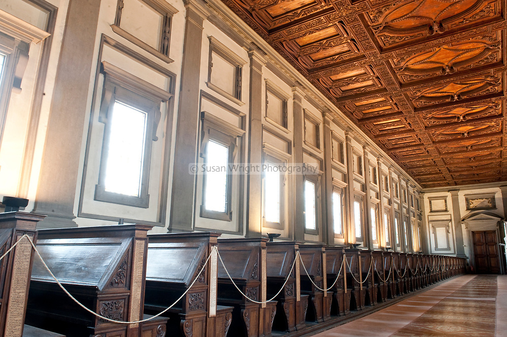 The reading room, Biblioteca Medicea Laurenziana, Florence, Italy