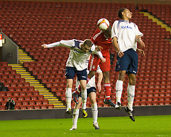 LIVERPOOL, ENGLAND - Friday, February 27, 2009: Liverpool's David Amoo scores the second goal against Bolton Wanderers during the FA Youth Cup Quarter Final at Anfield. (Photo by David Tickle/Propaganda)