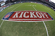 The 2016 NFL Kickoff logo is painted on the field for the Philadelphia Eagles 2016 NFL week 1 regular season football game against the Cleveland Browns on Sunday, Sept. 11, 2016 in Philadelphia. The Eagles won the game 29-10. (©Paul Anthony Spinelli)