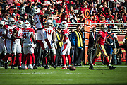 Arizona Cardinals cornerback Patrick Peterson (21) celebrates stopping a pass reception intended for San Francisco 49ers wide receiver Marquise Goodwin (11) at Levi's Stadium in Santa Clara, Calif., on November 5, 2017. (Stan Olszewski/Special to S.F. Examiner)