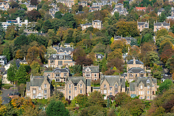View of large detached villas in The Grange district  from Blackford Hill in Edinburgh, Scotland, United Kingdom.