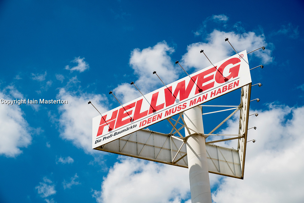 Sign for outside Hellweg DIY and Garden centre shop in germany