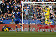 Southampton goalkeeper Fraser Forster (44)  saves as Leicester City forward Jamie Vardy (9)  thinks it's gone in during the Barclays Premier League match between Leicester City and Southampton at the King Power Stadium, Leicester, England on 3 April 2016. Photo by Simon Davies.