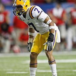 Dec 3, 2011; Atlanta, GA, USA; LSU Tigers cornerback Tyrann Mathieu (7) against the Georgia Bulldogs during the second half of the 2011 SEC championship game at the Georgia Dome.  Mandatory Credit: Derick E. Hingle-US PRESSWIRE