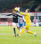 Kilmarnock&rsquo;s Jamie MacDonald denies Dundee&rsquo;s Nick Ross  - Dundee v Kilmarnock, Ladbrokes Scottish Premiership at Dens Park<br /> <br />  - &copy; David Young - www.davidyoungphoto.co.uk - email: davidyoungphoto@gmail.com