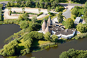 Nederland, Drenthe, Meppel, 23-08-2016; restaurant gevestigd in historische schelpkalkovens <br /> Restaurant located in historic shell lime kilns.<br /> <br /> luchtfoto (toeslag op standard tarieven);<br /> aerial photo (additional fee required);<br /> copyright foto/photo Siebe Swart