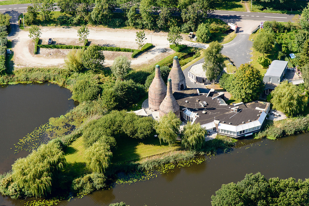 Nederland, Drenthe, Meppel, 23-08-2016; restaurant gevestigd in historische schelpkalkovens <br /> Restaurant located in historic shell lime kilns.<br /> <br /> luchtfoto (toeslag op standard tarieven);<br /> aerial photo (additional fee required);<br /> copyright foto/photo Siebe Swart