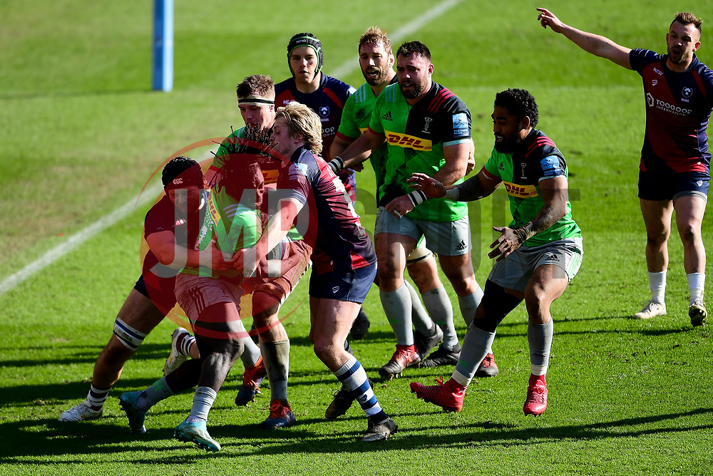 Gabriel Ibitoye of Harlequins is tackled by Ed Holmes of Bristol Bears - Mandatory by-line: Ryan Hiscott/JMP - 08/03/2020 - RUGBY - Ashton Gate - Bristol, England - Bristol Bears v Harlequins - Gallagher Premiership Rugby