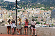 MONACO, MONACO - JUNE 17, 2015: Unidentified people enjoy the view from the viewpoint in Monaco.