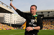 London - Saturday, April 17th 2010: Paul Lambert of Norwich City celebrates after the Coca Cola League One match at Carrow Road, Norwich..(Pic by Alex Broadway/Focus Images)