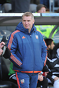 Dean Smith manager of Brentford during the Sky Bet Championship match between Hull City and Brentford at the KC Stadium, Kingston upon Hull, England on 26 April 2016. Photo by Ian Lyall.