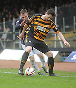 Alloa Athletic's Ben Gordon hods off Dundee's Carlo Monti - Dundee v Alloa Athletic, SPFL Championship at Dens Park<br /> <br />  - &copy; David Young - www.davidyoungphoto.co.uk - email: davidyoungphoto@gmail.com